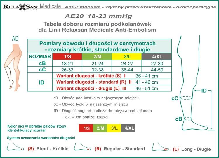 Tabela AE20 Podkolanówki_ss