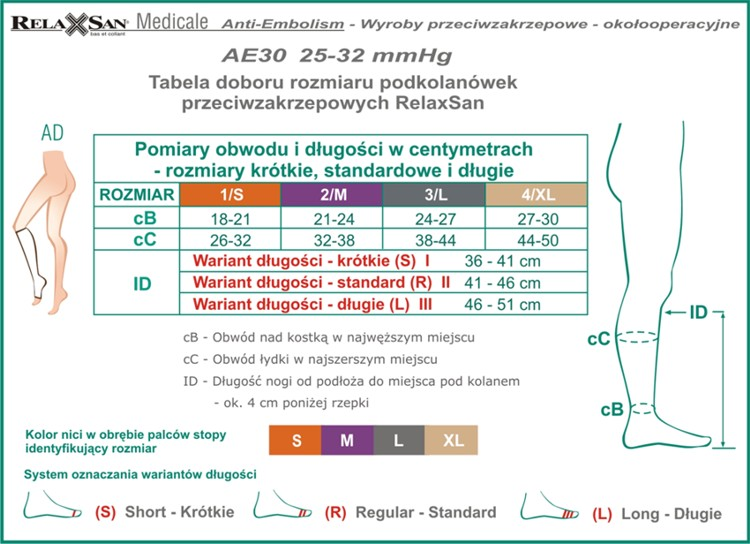 Tabela AE30 Podkolanówki_ss
